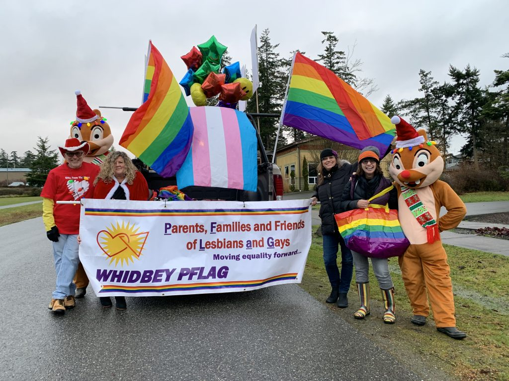 Anita Johnston with PFLAG Whidbey Island in Coupeville Greening Parade